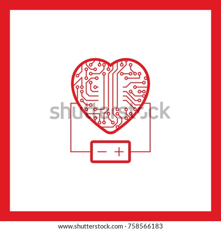 Electronic Circuit Heart Battery Line Vector Stock Photo Photo