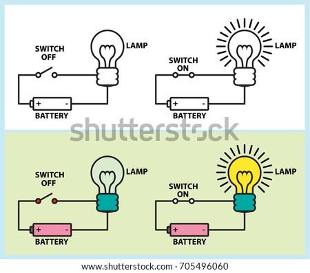 electronic circuit lighting lamp diagram stock vector 705496060 rh shutterstock com Vector Quantity Vector Graphics