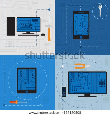 Electronic circuit of technological devices. Electronic circuit of technological devices like tablet, smarthphone, tv, personal computer, plus tools.  - stock vector