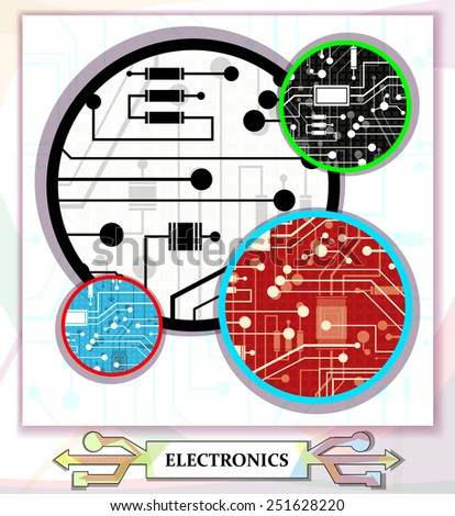 electronic circuit on a separate background, abstract, vector illustration - stock vector
