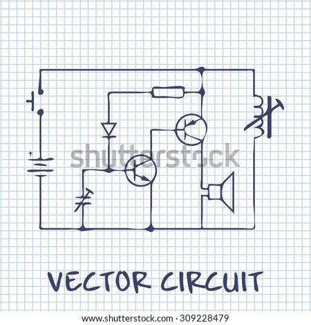 Electronic Circuit Scheme On White Squared Stock Vector (Royalty ...