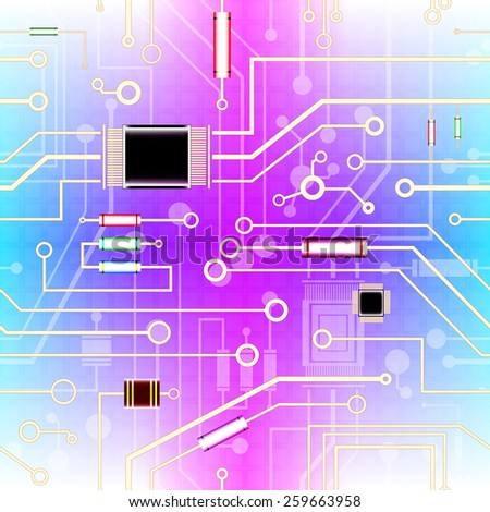 electronic circuit, seamless background, vector illustration - stock vector