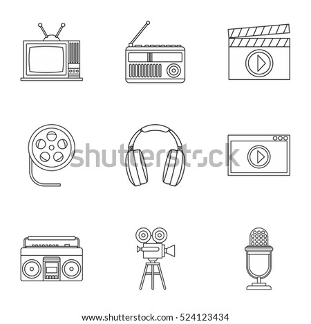 Electronic communication icons set. Outline illustration of 9 electronic communication vector icons for web