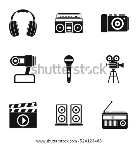 Electronic communication icons set. Simple illustration of 9 electronic communication vector icons for web