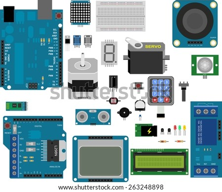 electronic components for prototype applications - stock vector