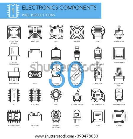 Electronic components , thin line icons set ,pixel perfect icons - stock vector