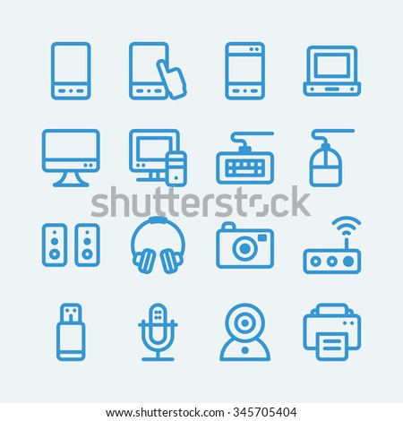 Electronic computer devices icons. Vector EPS10