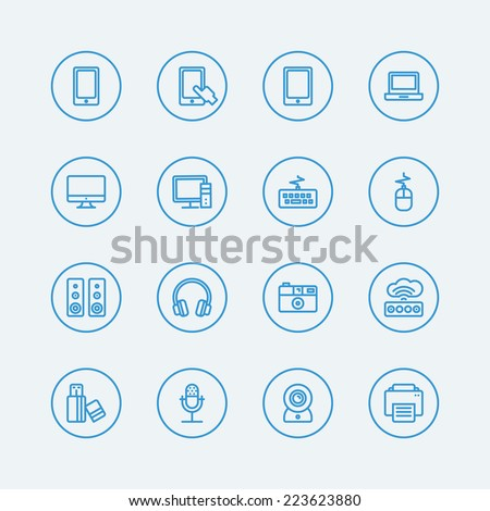 Electronic computer devices line icons. Vector EPS10  - stock vector