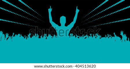 Electronic dance music festival with dancing people - stock vector