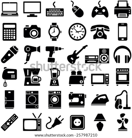 Electronic device and household icon collection - vector illustration