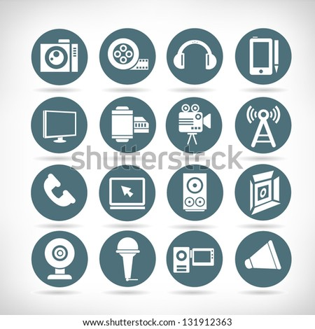 electronic device and multimedia icon set, button set