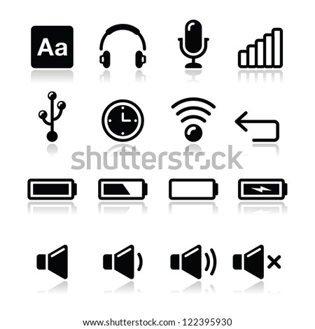 Electronic device / Computer software icons set - vector - stock vector