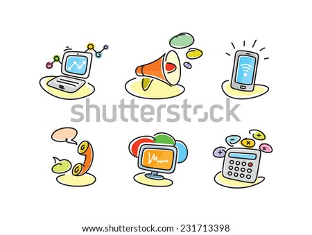 Electronic device icons in cartoon style. Devices include set of communication icons megaphone computer laptop smartphone data information calling monitor and calculator - stock vector