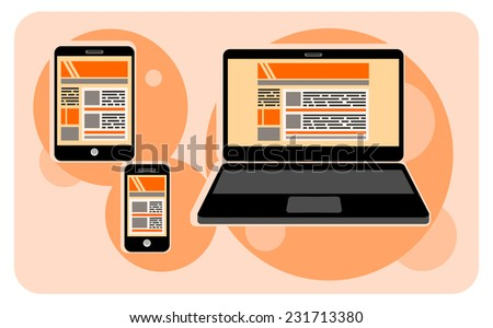 Electronic device icons in cartoon style. Set of electronic device icons on stylish background.  Devices include smartphone, laptop, tablet and mobile phones. - stock vector