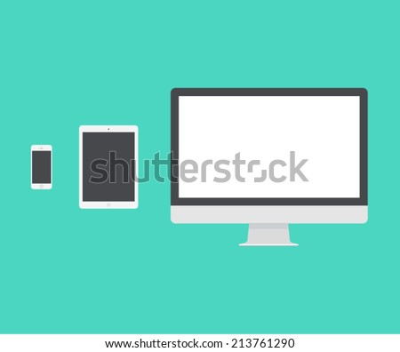 Electronic device (mac book, iPad, mac pro), laptop, phone, tablet, monitor trendy flat icons. Vector illustration. - stock vector