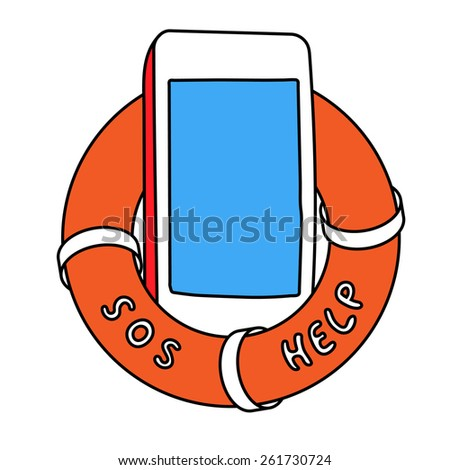 Electronic device phone in orange lifebuoy with sos and help words on it side. You text here - stock vector