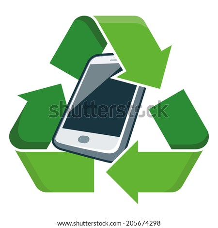 Electronic device phone with recycling symbol. Isolated vector illustration. Waste Electrical and Electronic Equipment - WEEE concept.  - stock vector