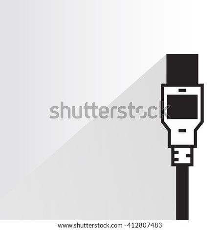 electronic device plug, computer plug on white background, flat and shadow theme