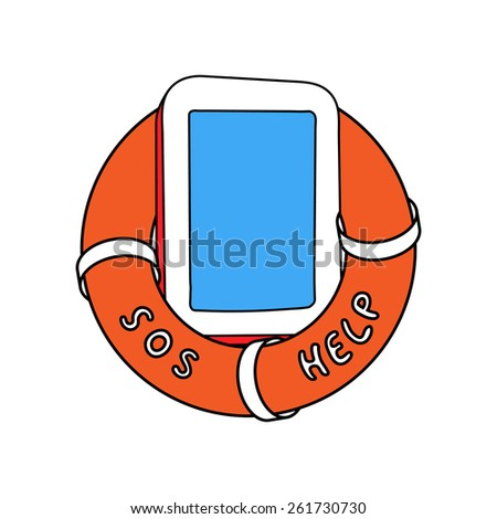 Electronic device tablet in orange lifebuoy with sos and help words on it side You text here - stock vector
