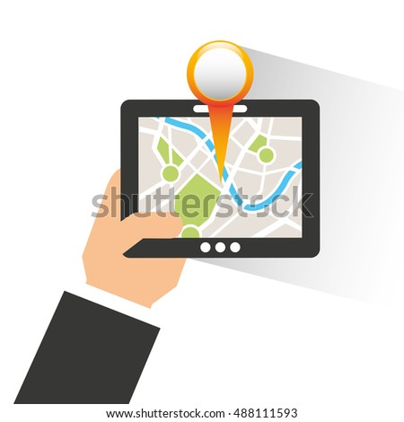 electronic device with gps service vector illustration design
