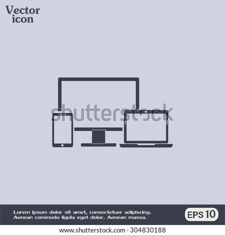 Electronic Devices  - desktop computer, laptop and mobile phones - stock vector