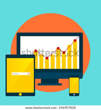 Electronic Devices: desktop computer, tablet and mobile phones. Vector Illustration. - stock vector