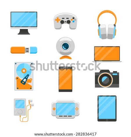 Electronic devices flat icons set. Usb and hard drive, player and web camera, joystic and computer. Vector illustration