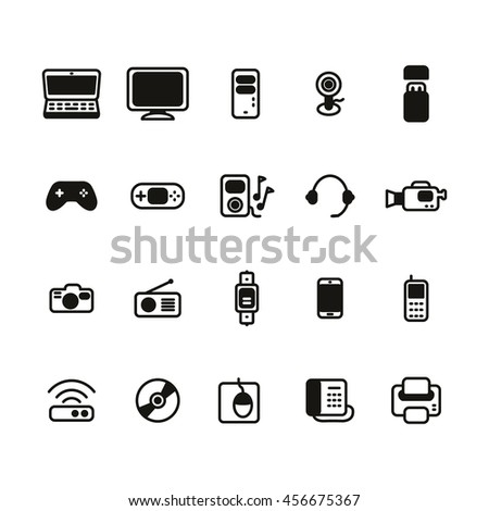 Electronic devices icon set. Vector illustration.