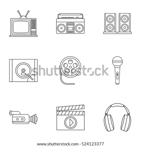 Electronic devices icons set. Outline illustration of 9 electronic devices vector icons for web