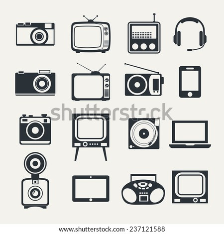 Electronic devices. Icons set style of minimalism - stock vector