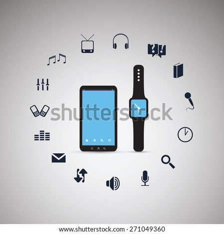 Electronic Devices - Mobile Phone with Smart Watch - Cloud Computing Design - stock vector