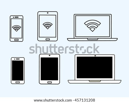 Electronic Devices. set of icons. Smartphone, tablet laptop  simbol. - stock vector