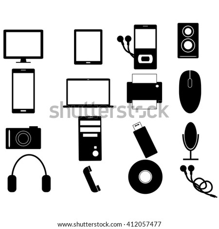 Electronic devices simple icon set collection