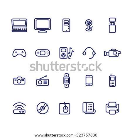 Electronic devices thin line icon set. Vector illustration. Vector icons set.