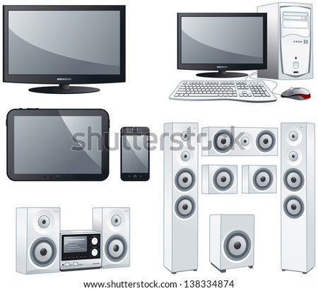 Electronic devices : TV, computer, tablet, smart phone, sound systems. Vector objects illustration set - stock vector