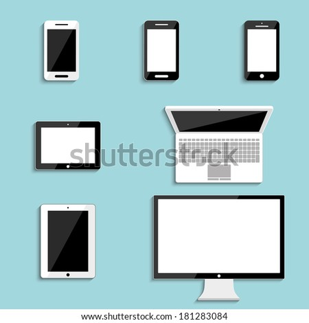 electronic devices with blank screens. smartphones, tablets, monitor PC, laptop. vector eps10 - stock vector