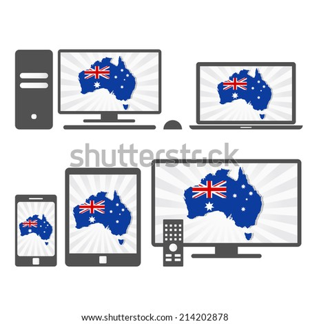 Electronic devices with the map of Australia. Many device media (tablet, pc, cellphone, laptop, smart tv) with the map and flag of australia. - stock vector