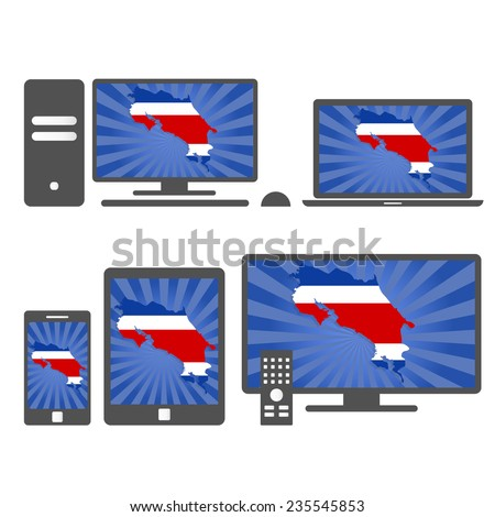Electronic devices with the map of Costa Rica. Many device media (tablet, pc, cellphone, laptop, smart tv) with the map and flag of Costa Rica