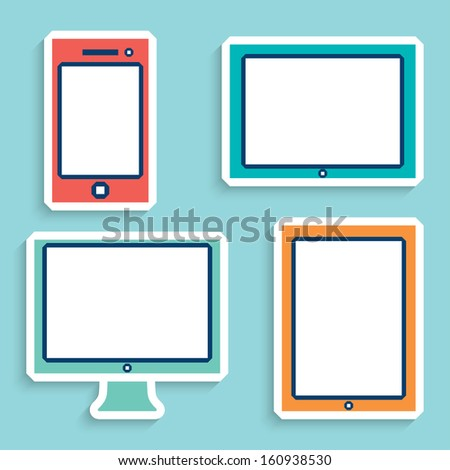 electronic devices with white blank screens in color. smartphone, tablet, computer monitor. vector eps10 - stock vector