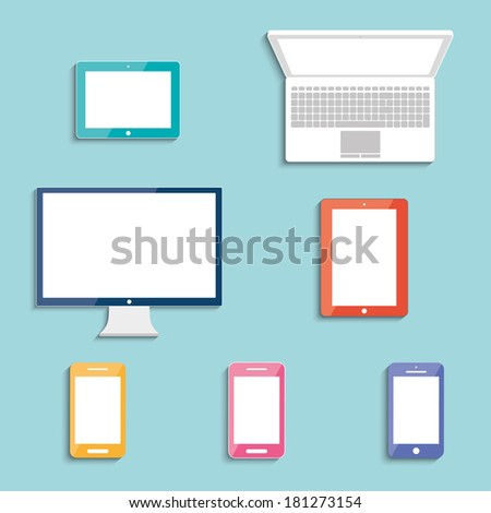 electronic devices with white blank screens in color. smartphones, tablets, computer monitor, netbook. vector eps10 - stock vector