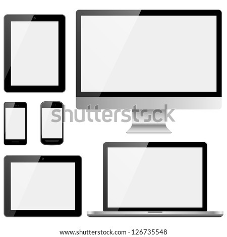 Electronic Devices with White Screens - Electronic devices with white, shiny screens isolated on white background; desktop computer, laptop, tablet and mobile phones.  Eps10 file with transparency. - stock vector