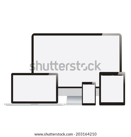 Electronic Devices with White Screens - Electronic devices with white, shiny screens isolated on white background; desktop computer, laptop, tablet and mobile phones.
