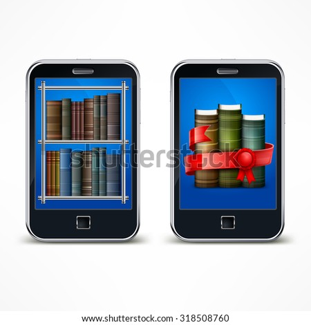 Electronic digital device for reading on white, vector illustration - stock vector