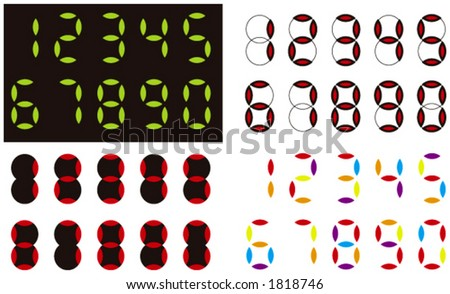 Electronic digits (colors are free to change) - stock vector