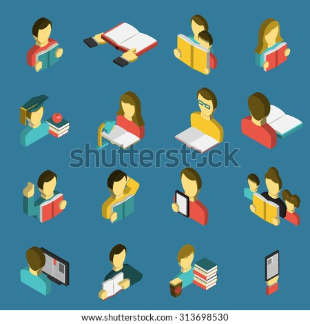 Electronic  e-reader and paper books for study and family reading isometric icons collection abstract isolated vector illustration - stock vector