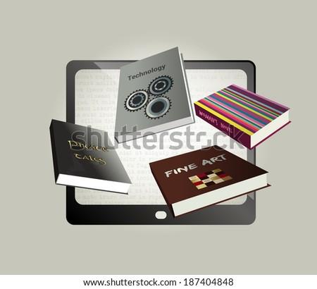 Electronic, ebook  concept design. Vector illustration. - stock vector