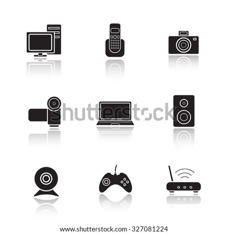 Electronic equipment drop shadow icons set. Digital photo and video cameras. Black cast shadow silhouettes illustrations isolated on white. Computer technology items. Vector infographics elements