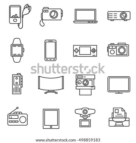 Electronic Equipment Line Icons Set Electrical Stock Vector HD ...