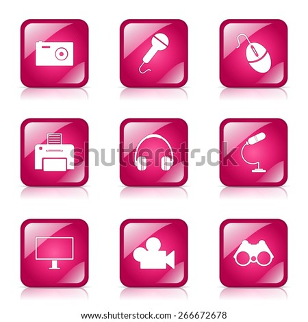 Electronic Equipment Square Vector Pink Icon Design Set