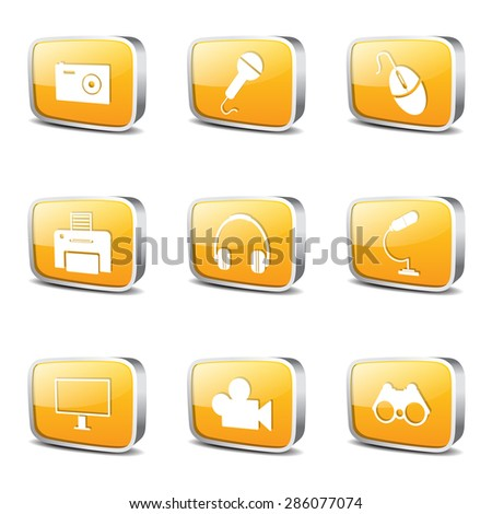 Electronic Equipment Square Vector Yellow Icon Design Set